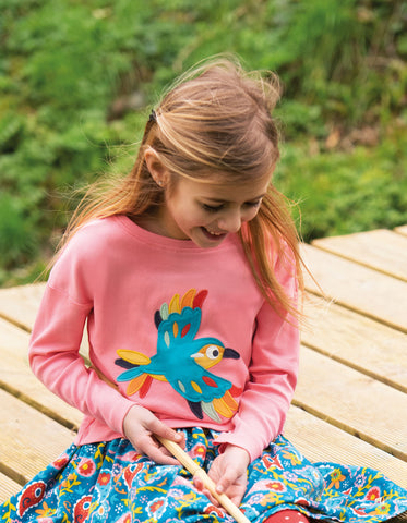 Image of Frugi Bethany Boxy Top -  Guava Pink/Bird