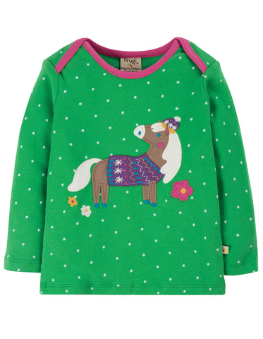 Image of Frugi Bobby Applique Top - Ditsy Spot/Horse