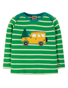 Frugi Bobby Applique Top - Glen Green Breton/Truck