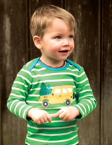 Image of Frugi Bobby Applique Top - Glen Green Breton/Truck