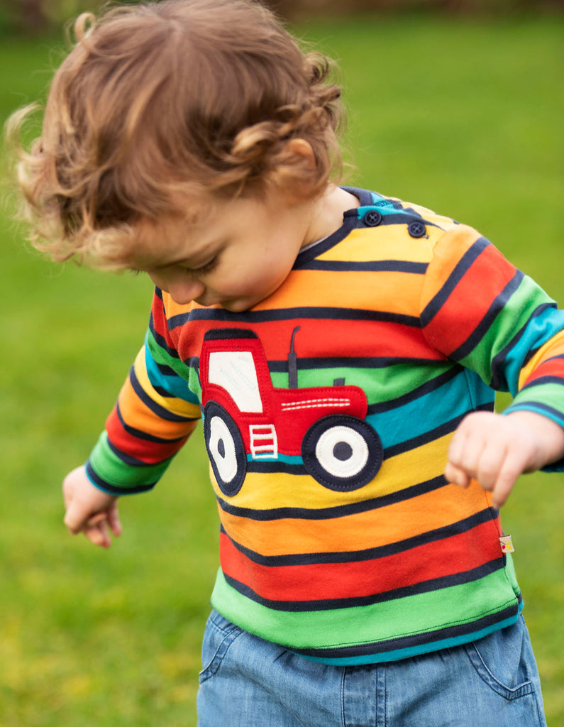 Frugi Button Applique Top - Bumble Rainbow Stripe/Tractor