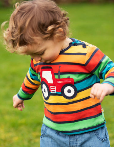 Image of Frugi Button Applique Top - Bumble Rainbow Stripe/Tractor