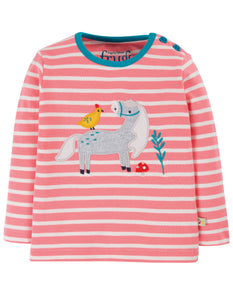 Frugi Button Applique Top - Guava Pink Stripe/Horse