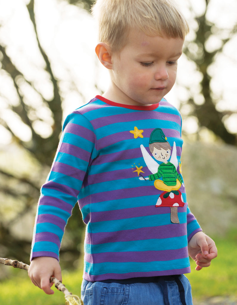 Frugi Button Applique Top - Thistle Stripe/Fairy