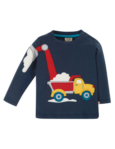 Frugi Doug Applique Top - Indigo/Truck
