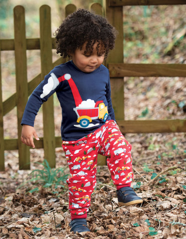 Image of Frugi Doug Applique Top - Indigo/Truck