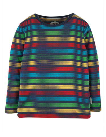 Image of Frugi Favourite L/S Tee -   Tobermory Rainbow Stripe