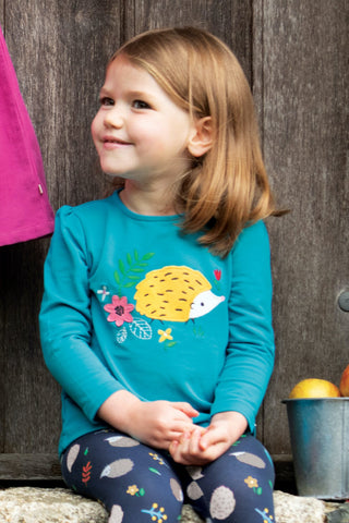 Frugi Little Alana Applique Top - Tobermory Teal/Hedgehog