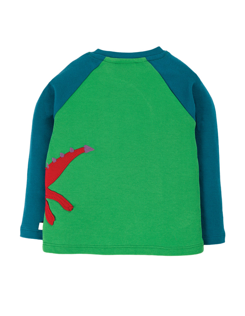 Frugi Little Albert Applique Top - Glen Green/Dragon