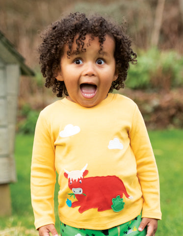 Image of Frugi Little Discovery Applique Top - Bumble Bee/Cow