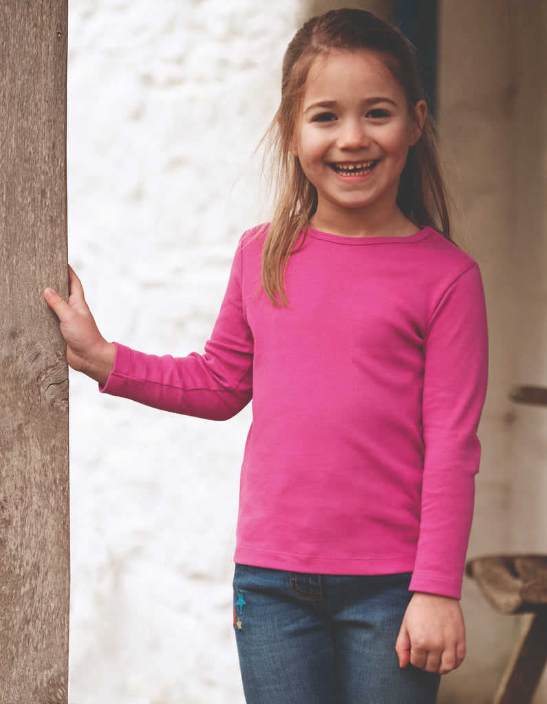 Frugi Everyday Long Sleeve Tee - Foxglove