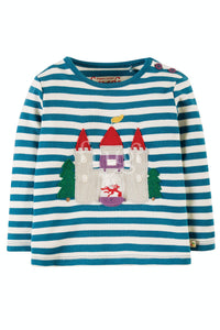 Frugi Ira Interactive Applique Top -  Loch Blue Stripe/Castle
