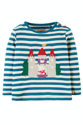 Image of Frugi Ira Interactive Applique Top -  Loch Blue Stripe/Castle