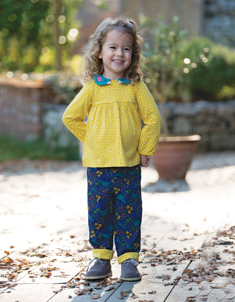 Frugi Bluebird Collar Top - Gorse Speckle Spot/Bird