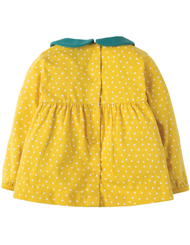 Image of Frugi Bluebird Collar Top - Gorse Speckle Spot/Bird