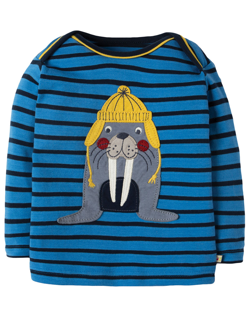 Frugi Bobby Applique Top - Sail Blue Breton/Walrus - Tilly & Jasper