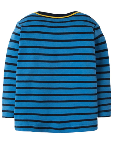 Frugi Bobby Applique Top - Sail Blue Breton/Walrus