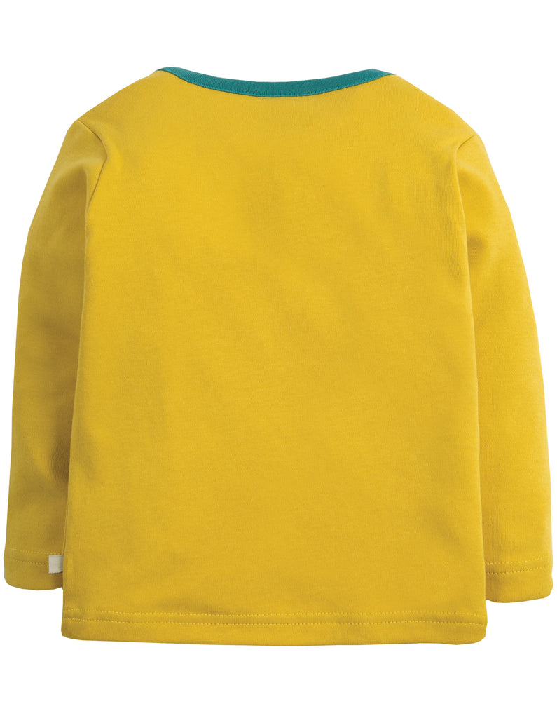 Frugi Bobby Applique Top - Gorse/Moose