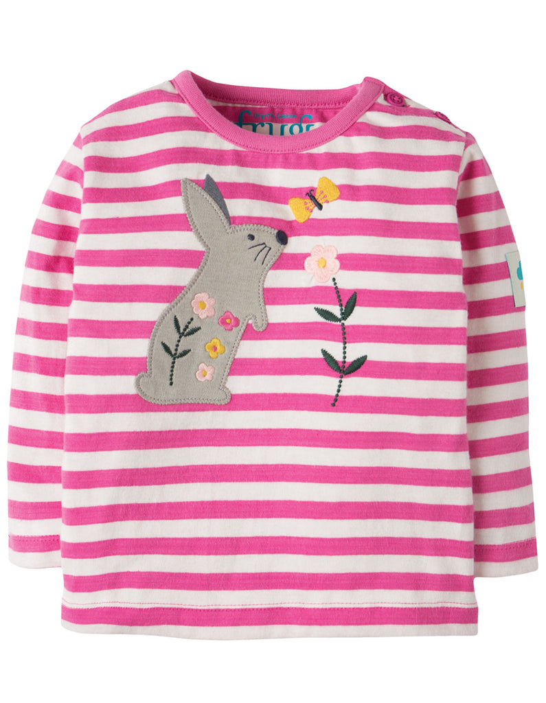 Frugi Bobby Applique Top - Flamingo Stripe/Bunny
