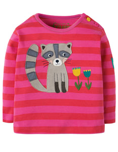 Frugi Button Applique Top - Geranium Stripe/Raccoon - Organic Cotton