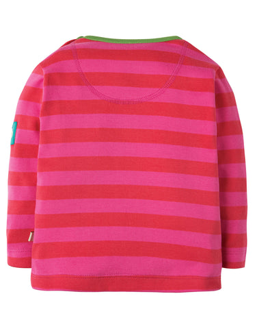 Image of Frugi Button Applique Top - Geranium Stripe/Raccoon - Tilly & Jasper