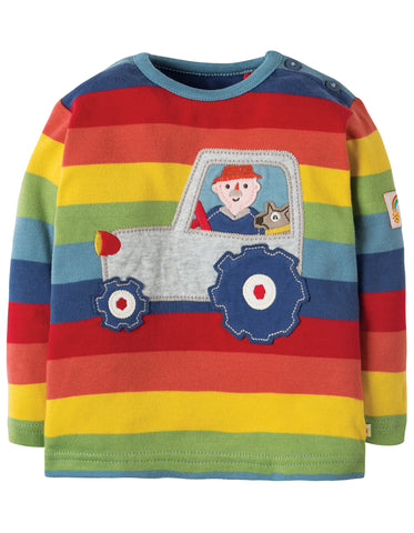 Image of Frugi Button Applique Top - Rainbow Stripe/Tractor - Organic Cotton