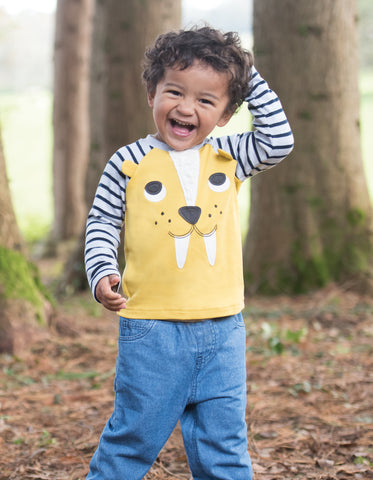 Frugi Happy Raglan Top - Gorse/Sabre Tooth Tiger