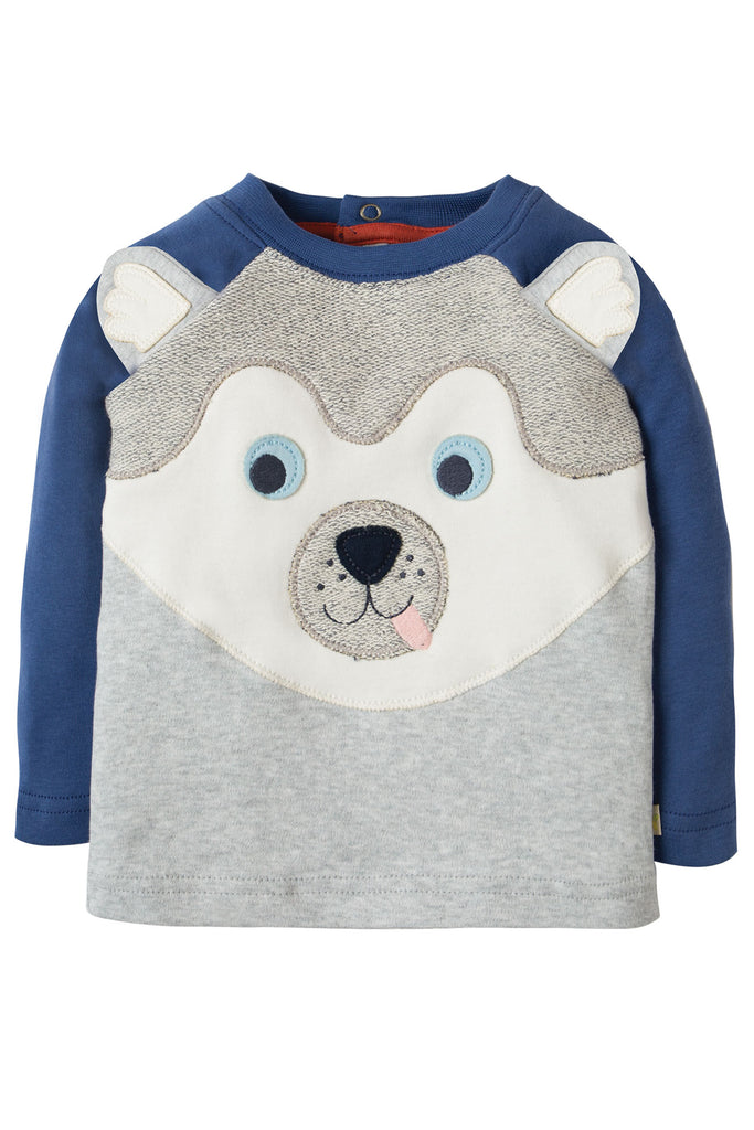 Frugi Happy Raglan Top - Grey Marl/Husky Dog
