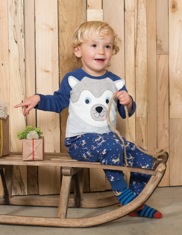 Frugi Happy Raglan Top - Grey Marl/Husky Dog - Tilly & Jasper