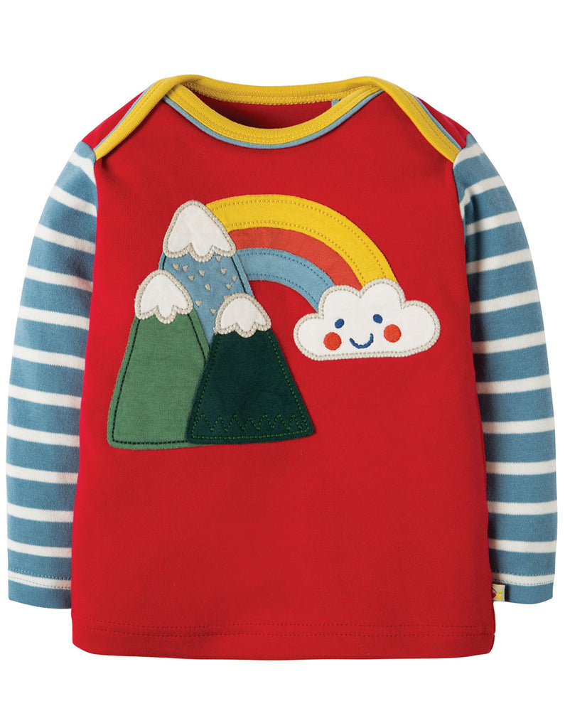 Frugi Piper Envelope Top - Mars Red/Mountains - Organic Cotton