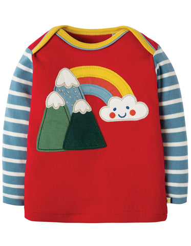 Image of Frugi Piper Envelope Top - Mars Red/Mountains - Organic Cotton
