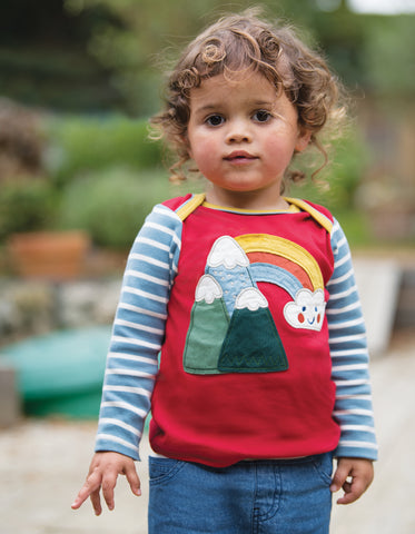 Image of Frugi Piper Envelope Top - Mars Red/Mountains - Tilly & Jasper
