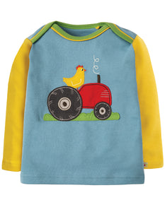 Frugi Piper Envelope Top - River Blue Tractor