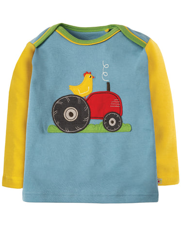 Image of Frugi Piper Envelope Top - River Blue Tractor - Organic Cotton