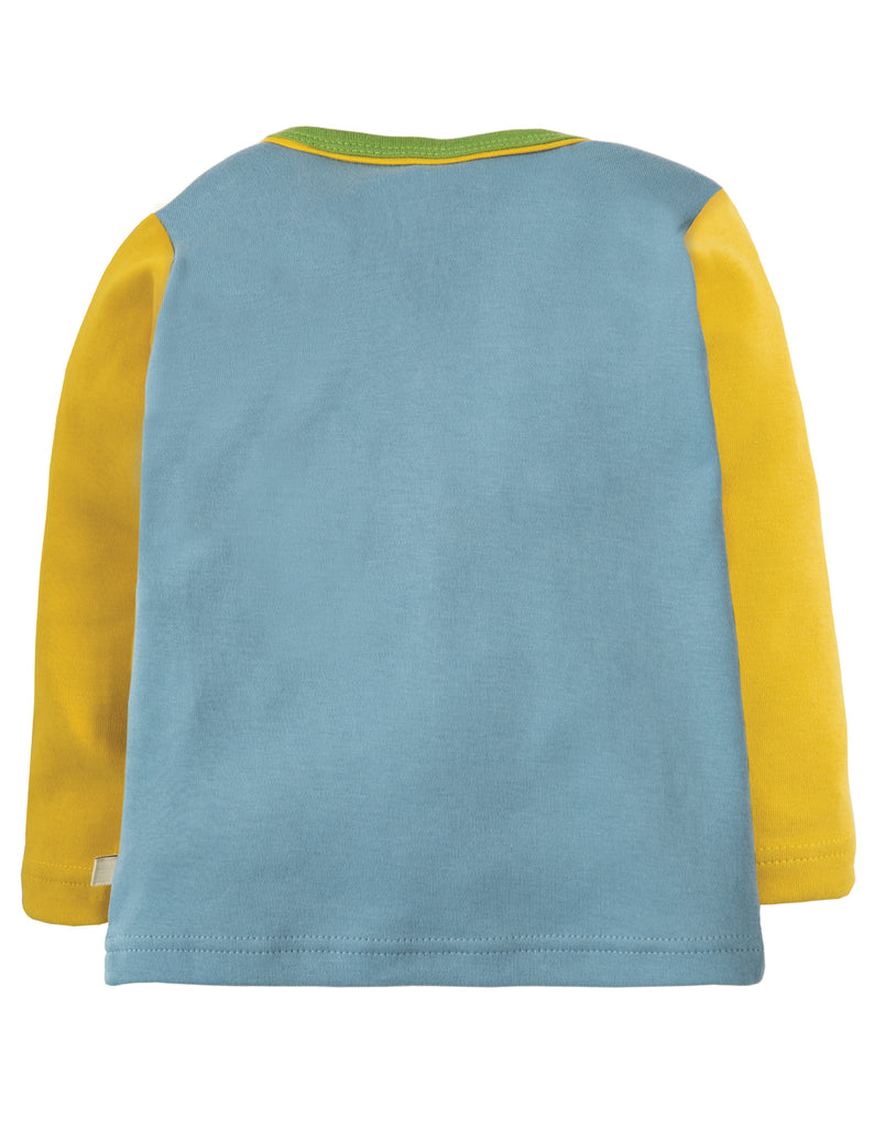 Frugi Piper Envelope Top - River Blue Tractor - Organic Cotton