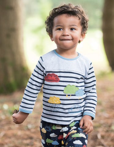 Frugi Playtime Panel Tee - Marl Stripe/Rainclouds