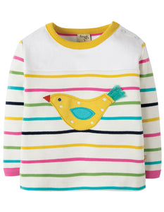 Frugi Playtime Panel Tee - Rainbow Chunky Breton/Bird