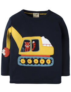 Frugi Doug Applique Top - Navy/Digger - Tilly & Jasper