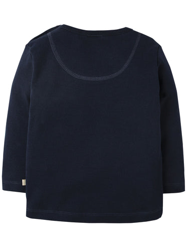 Frugi Doug Applique Top - Navy/Digger - Organic Cotton