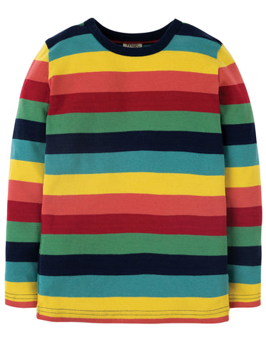 Image of Frugi Favourite Long Sleeve Tee - Rainbow Marl Stripe - Organic Cotton