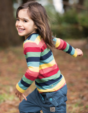 Image of Frugi Favourite Long Sleeve Tee - Rainbow Marl Stripe