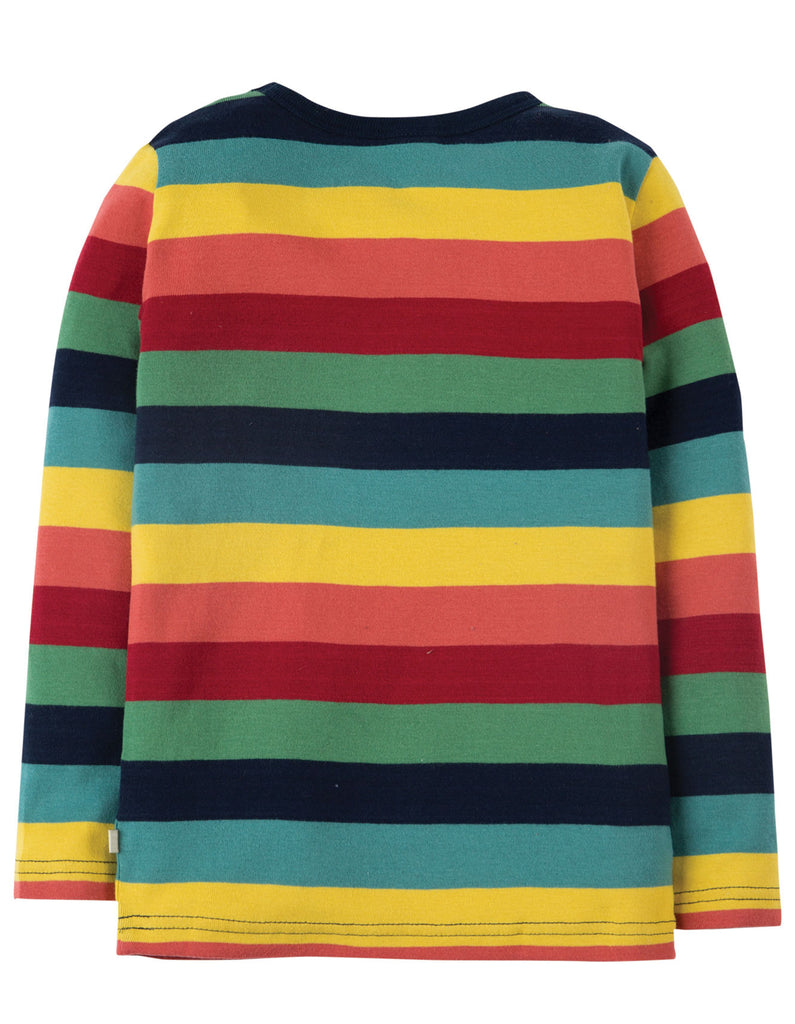 Frugi Favourite Long Sleeve Tee - Rainbow Marl Stripe - Organic Cotton
