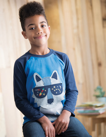 Image of Frugi Jake Applique Raglan Top - Sail Blue/Wolf - Tilly & Jasper
