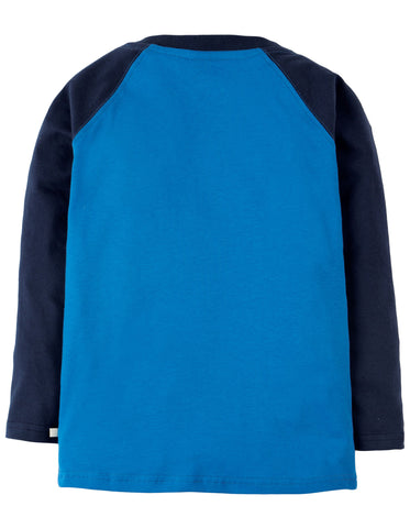 Frugi Jake Applique Raglan Top - Sail Blue/Wolf - Tilly & Jasper