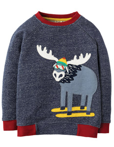 Frugi Jaco Jumper - Indigo Terry/Moose - Organic Cotton