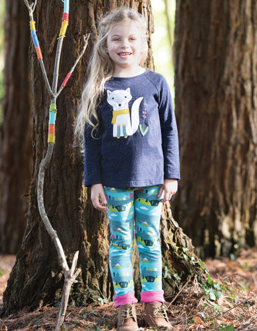 Image of Frugi Jill Jersey Raglan Top - Navy Nepp/Arctic Fox - Tilly & Jasper
