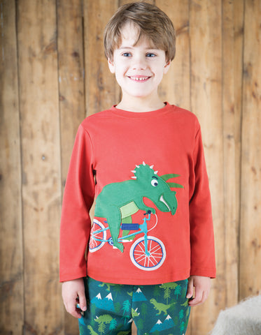 Image of Frugi Joe Applique Top - Campfire/Dino Bike - Tilly & Jasper