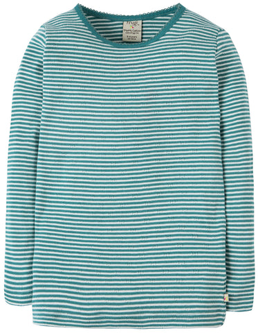 Image of Frugi Mia Pointelle Top - River Blue Stripe - Tilly & Jasper