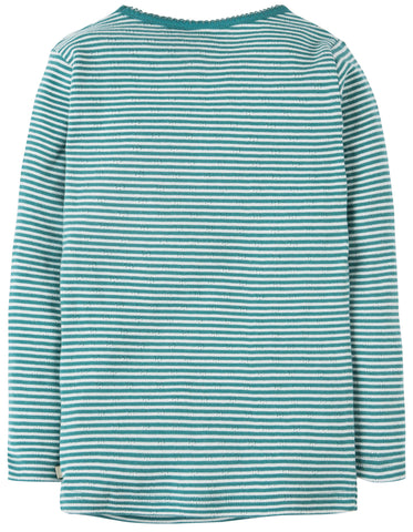 Frugi Mia Pointelle Top - River Blue Stripe - Tilly & Jasper