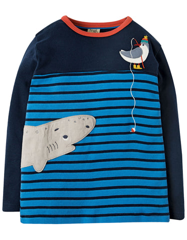 Image of Frugi Peter Panel Tee - Sail Blue Breton/Shark